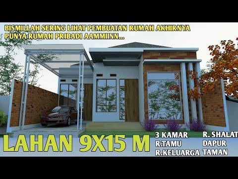Desain Rumah Minimalis Ukuran 9x15 1 Lantai | Rumah 9x15 3 Kamar Tidur -  YouTube