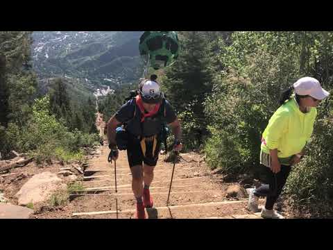 Richard Bolt reaches the top of the Manitou Incline