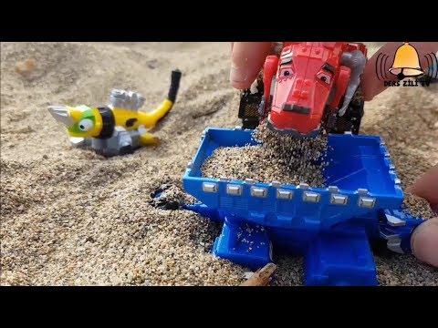 Dinozor Makineler Kumsalda Yiyecek Arayışında - DinoTrux By the Seaside & Food Search
