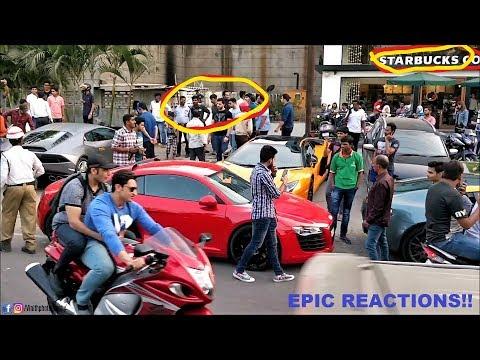 4 Crazy Super Cars Arrives at STARBUCKS & This Happens....INDIA(Hyderabad)!!!