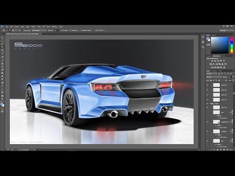 Honda S2000 Revival_Photoshop Rendering Tutorial (40 MIN)