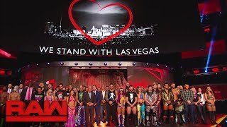 wwe holds a moment of silence in memory of those lost in the las vegas tragedy raw oct 2 2017