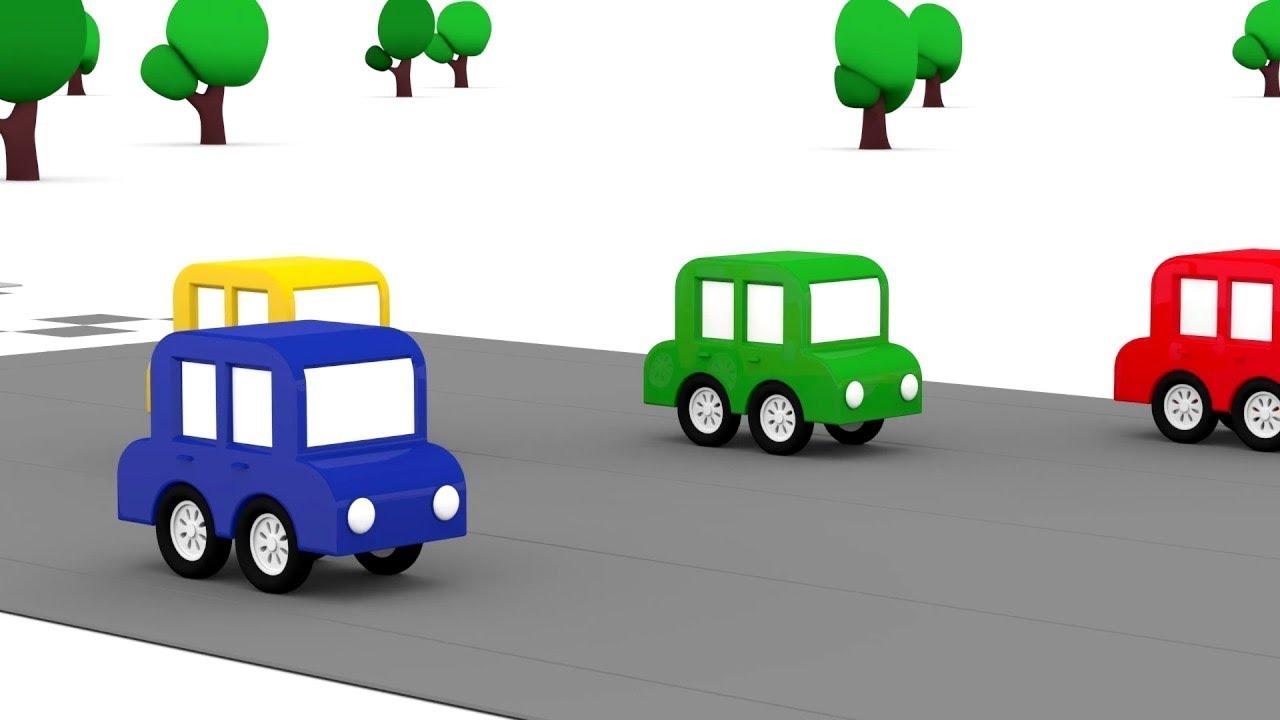 dessin anime pour enfants de 4 voitures colorees nouvelle course