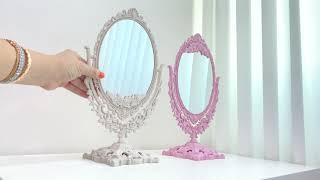 엔틱 타원형 회전 탁상거울