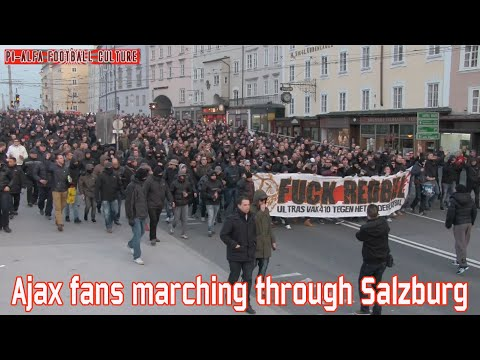 Ajax fans marching through Salzburg