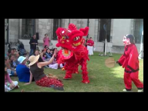 Traditional costumed 'lion dance' (1) at the Fitzwilliam Museum, Cambridge