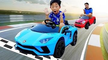 전동차로 아빠와 레이싱 놀이 해봤어요! 어떤 자동차 장난감 빠를까요? 슈퍼카 람보르기니 타요버스 맥퀸 Kids Race Car Toy Power Wheels