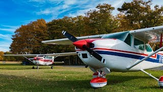 Cessna 172 Grass Landing on an Island + Coolest Airport Van EVER