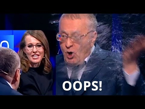 Water Flies At Russian Presidential Debate As Zhirinovsky Faces Off With Ksenia Sobchak