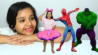 شفا صغرت تؤامتها ! ! Shfa with Superheroes Dance