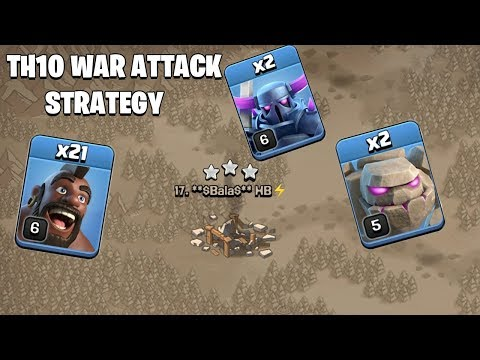 2 Golem + 2 Pekka + 21 Hogs | TH10 New War Attack Strategy Clash Of Clans - COC