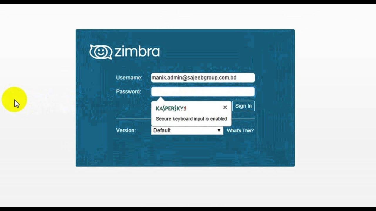 Zimbra Web Login