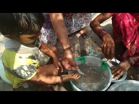 Prawns cleaning by a baby