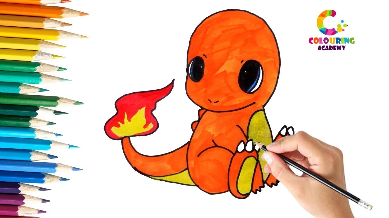 Baby Charmander Pokemon Colouring Page For Kids Youtube