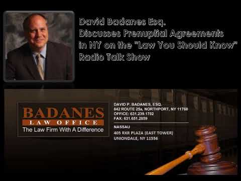 """David Badanes Esq. Discusses Prenuptial Agreements  on the """"Law You Should Know"""" Radio Talk Show"""