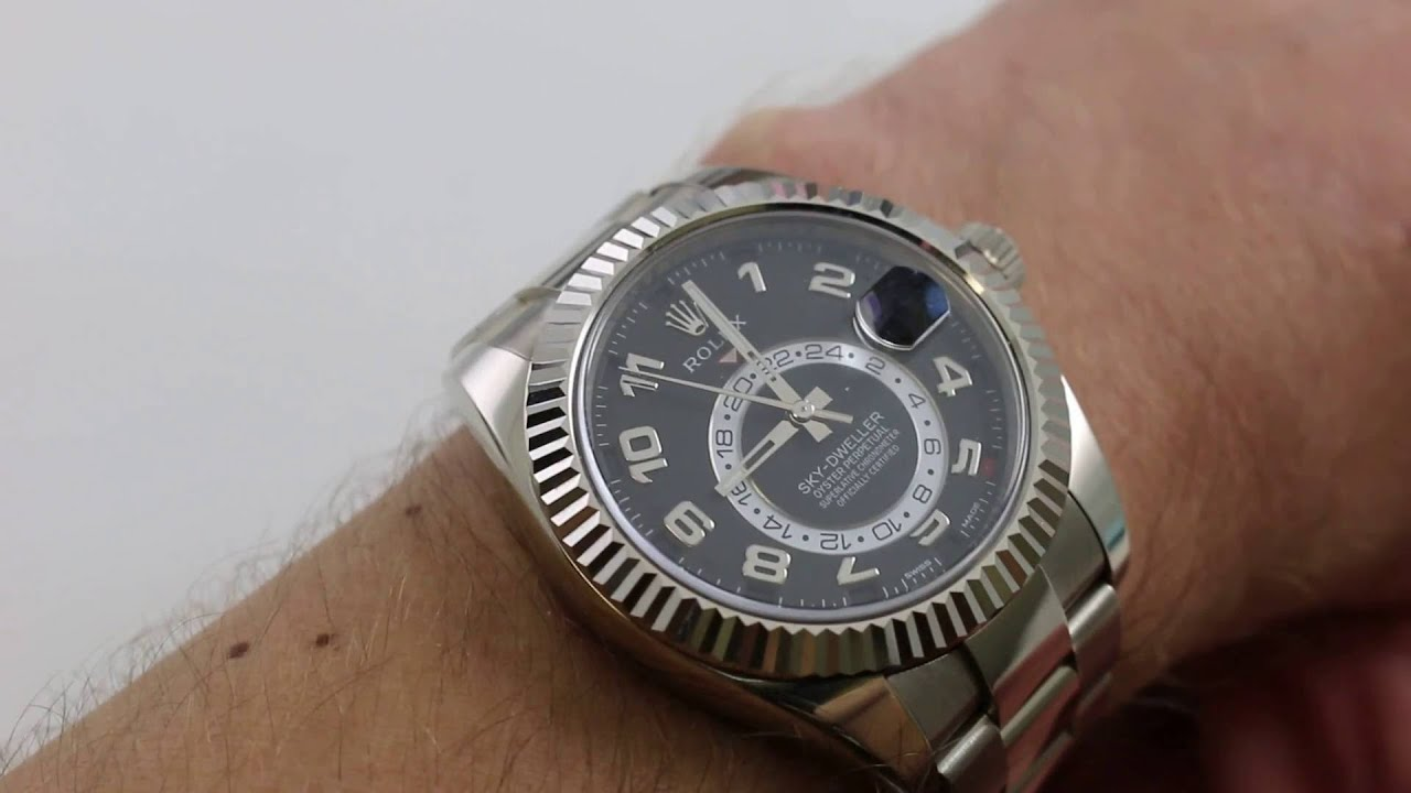 da901ca41bc7e Rolex White Gold Black Dial Sky-Dweller 326939 Luxury Watch Review and  How-to Instructions