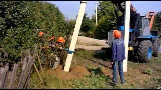 Установка подкоса к железобетонной  опоре СВ-9.5(Установка железобетонных опор СВ-9,5 для ВЛИ-0,4 кВ (воздушной изолированной линии 0,4кВ) Электроустановки..., 2011-09-17T09:14:01.000Z)