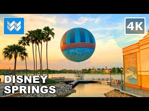 [4K] Disney Springs in Orlando, Florida USA - 2021 Night Walking Tour 🎧 Binaural Sound