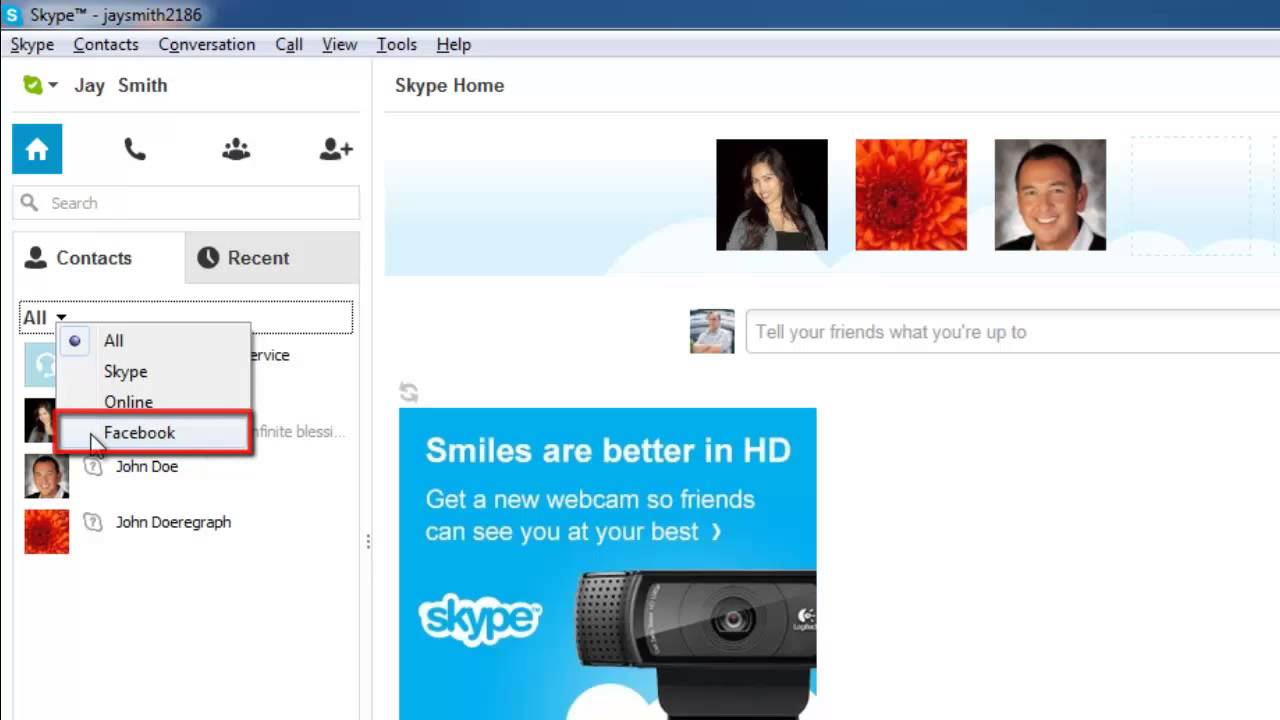 link skype to facebook mac