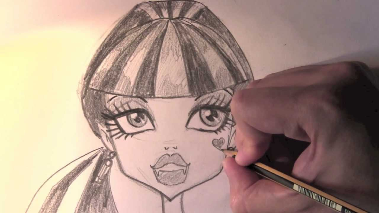 Draculaura Zeichnung von Monster High - ONLINE Zeichnen LERNEN - YouTube