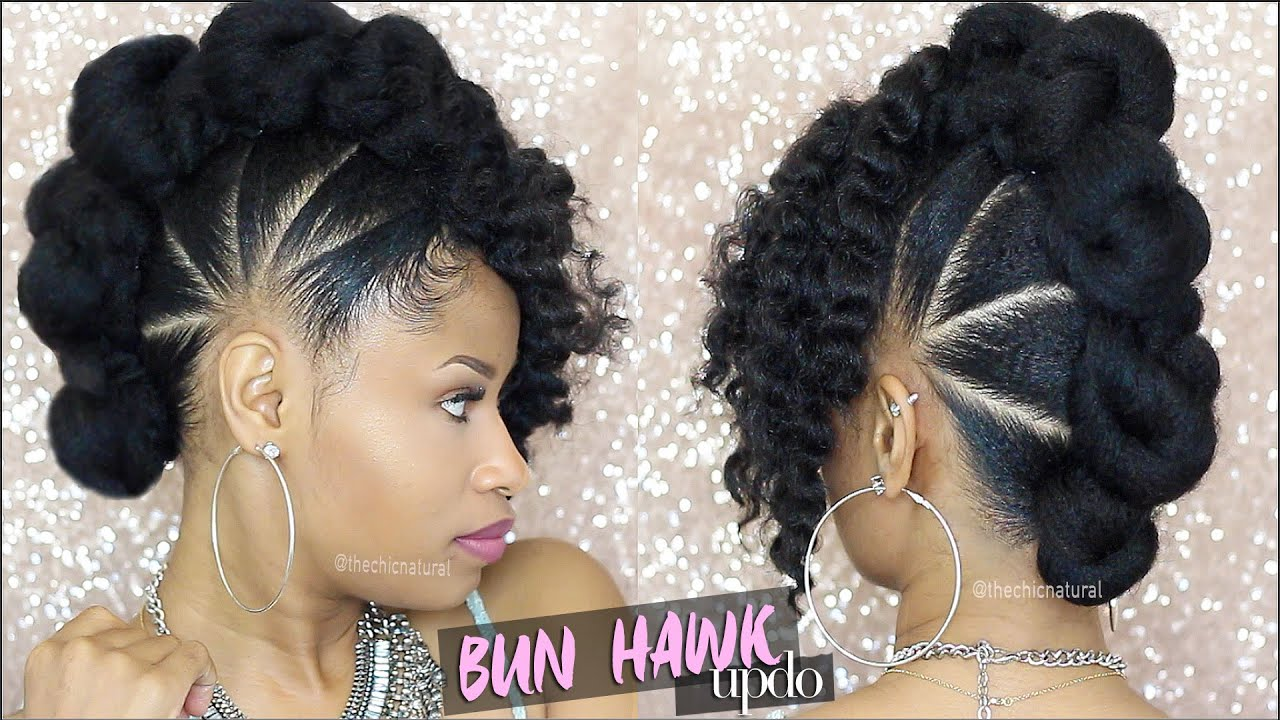 Braided Updo Styles For Natural Hair: BAD AZZ BUN-HAWK UPDO Natural Hair Tutorial