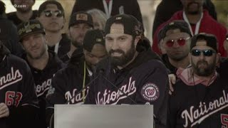 Adam Eaton gives hilarious  team shout outs during the Nationals World Series victory parade in DC