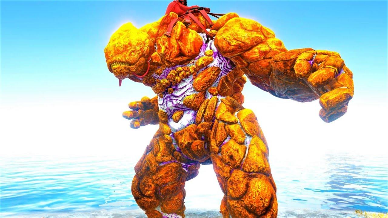 Unstoppable GOLDEN ROCK GOLEM !!! ARK Survival Evolved Pugnacia Dinos ARK MODDED E14 thumbnail