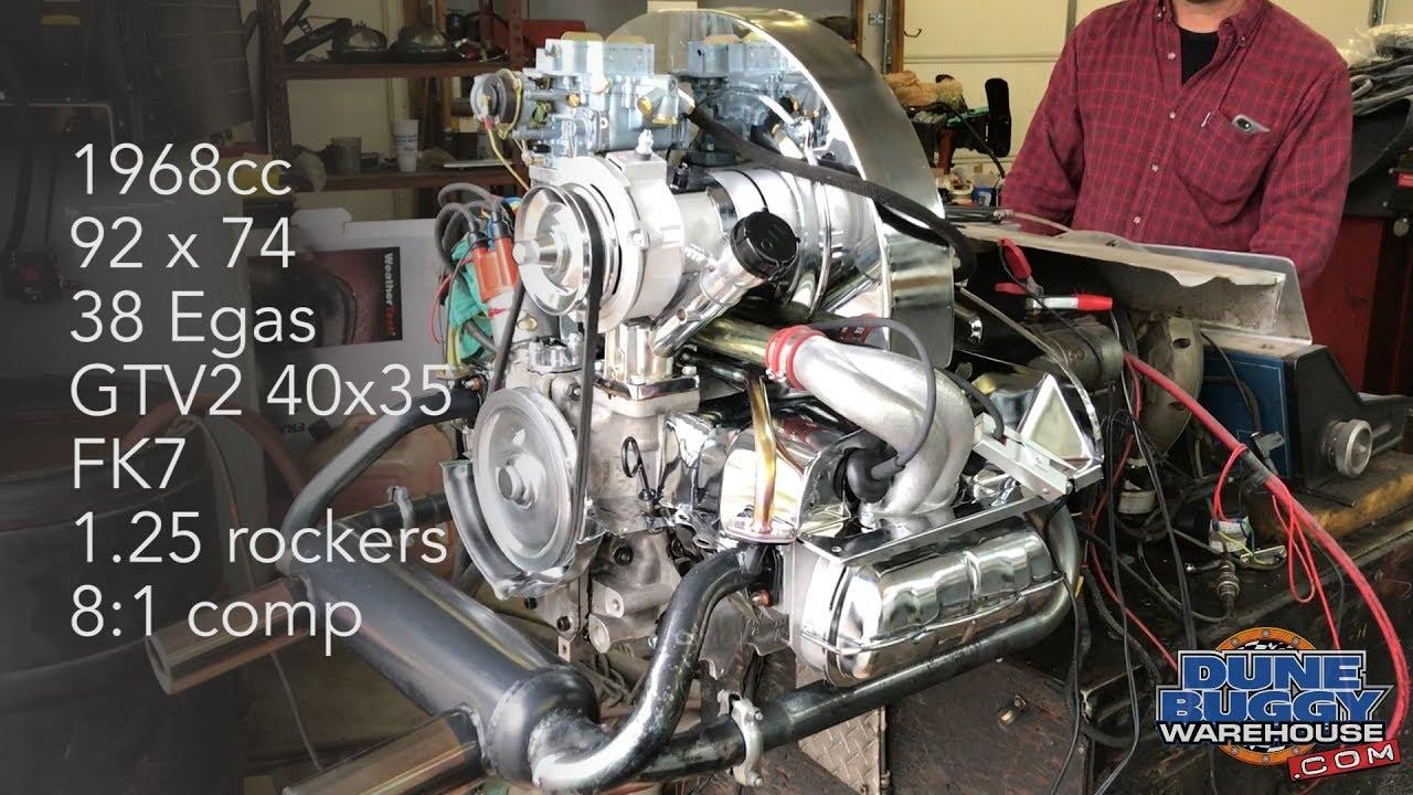 1968cc VW Type 1 Dyno Test - 92mm bore x 74mm stroke - 38 Egas carburetor