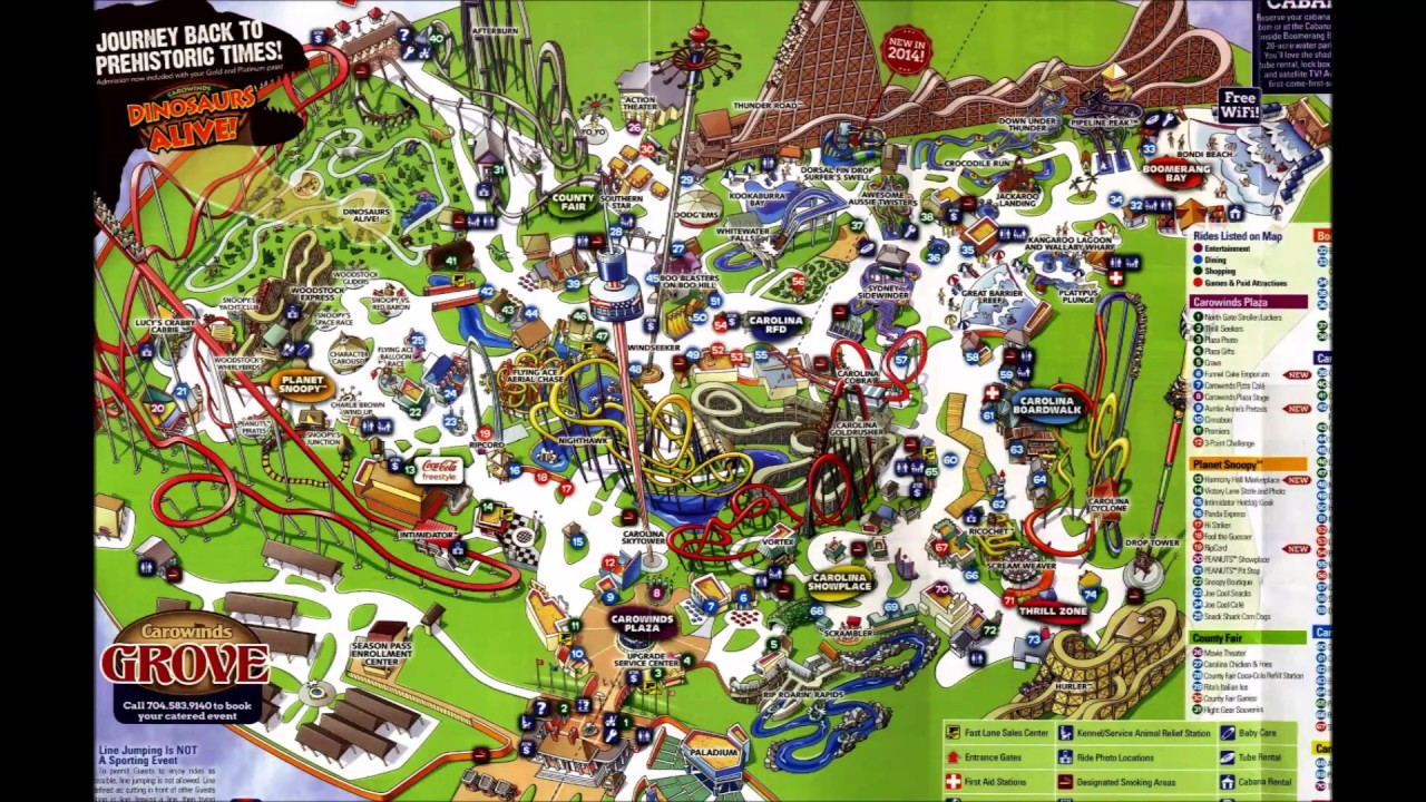 Carowinds Maps Over The Years - History - YouTube on