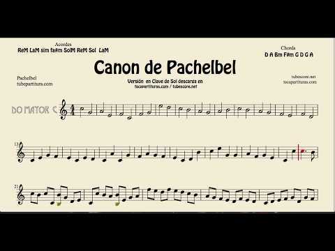 Pachelbel's Canon in C Major sheet music for flute violin and oboe G key tocapartituras com version