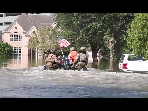 Marines Cruise Flooded Streets Of Houston Looking For Survivors