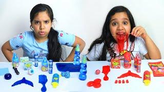 تحدي الأكل الأحمر ضد الأزرق !! !! Red Food VS Blue Food Challenge - شفا Shfa