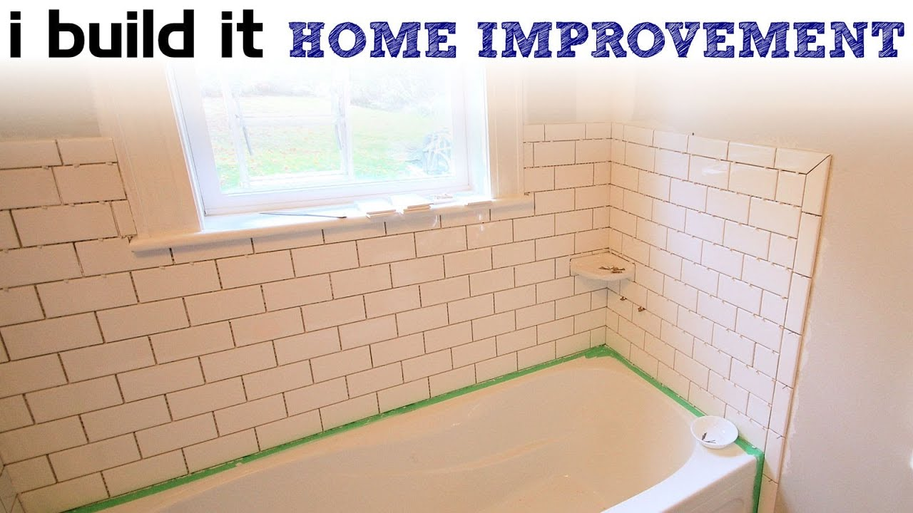Doing ceramic tile around the tub youtube - Installing tile around bathtub ...