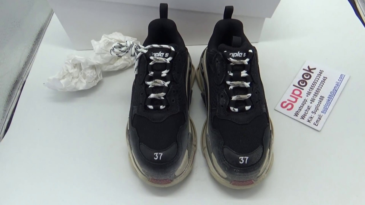 02275eae068f Balenciaga Triple S All Black Size 37!!! DETAILED REVIEW FROM SUPLOOK