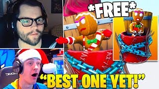 STREAMERS REACT TO *FREE* MERRY MUNCHKIN BACKBLING! - Fortnite FUNNY Moments