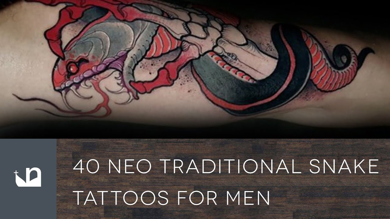 40 Neo Traditional Snake Tattoo Ideas For Men – Serpent Designs