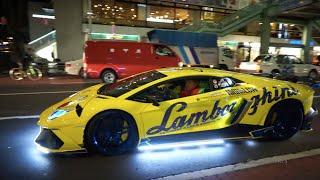 【爆音15台!!】ド派手ランボルギーニ軍団がハロウィンの夜にパレード!/Lamborghini Halloween night!!