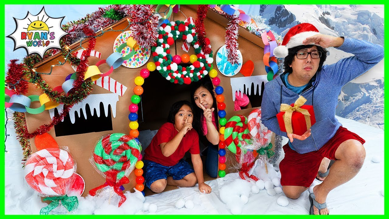 Ryan DIY Giant Gingerbread House Pretend Play Box Fort!!!!