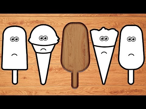 Wrong Wooden Slots with Crying Ice Cream & Popsicle - Coloring for Kids
