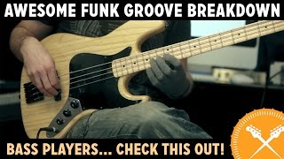 Awesome Funk Groove Breakdown - with Scott's Bass Lessons(BASS LESSONS: Subscribe for FREE to http://www.scottsbasslessons.com and you'll receive exclusive 'MEMBER ONLY' video lessons, and other cool goodies!, 2013-11-19T11:18:18.000Z)