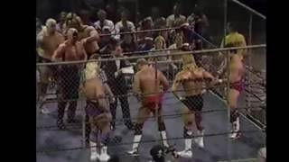 nwa 1987 july start of Four Horsemen vs Road Warriors and SuperPowers in Steel Cage