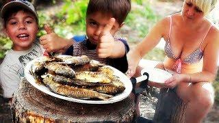 Семейный ужин приготовленный на костре.