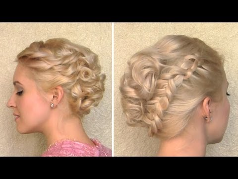 curly wedding updo prom hairstyle