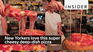 New Yorkers love this super cheesy deep-dish pizza