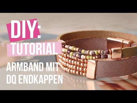 Schmuck machen: Armband Miyuki mit DQ Leder und Endkappen ♡ DIY