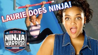 Laurie Hernandez Reacts to Her NINJA COURSE RUN! | American Ninja Warrior Junior | Universal Kids