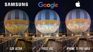 Galaxy S20 Ultra Camera vs iPhone 11 Pro Max vs Pixel 4 XL Low Light Comparison!