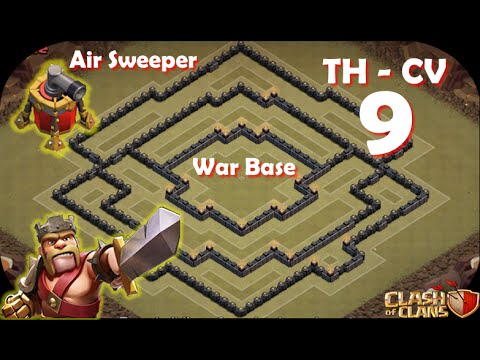Clash of Clans - Layout War Base CV TH 9 - (Air Sweeper)