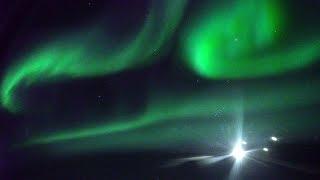 NORTHERN LIGHTS From Airplane Window 4K
