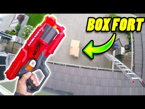 NERF Vs. BOX FORT from Rooftop!